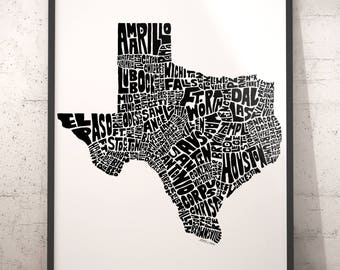 Texas typography map, Texas art print, map of Texas, Texas cities city map, Texas map art, state of Texas, choose color & size