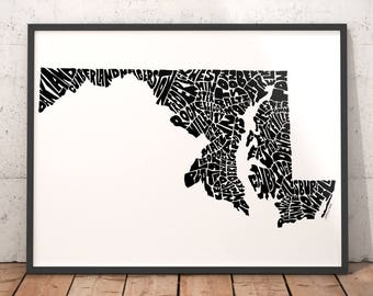 Maryland typography map, Maryland art print, map of Maryland, Maryland cities city map, Maryland map art, state of Maryland