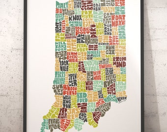 Indiana Map Etsy - Map of indiana