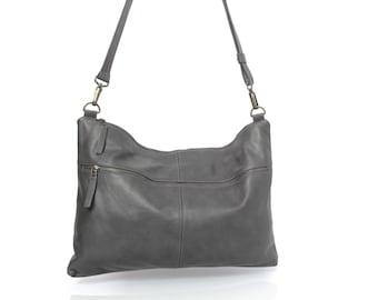 Gray leather bag - soft leather purse SALE leather shoulder bag crossbody bag - women messenger bag - oversize leather clutch leather purse
