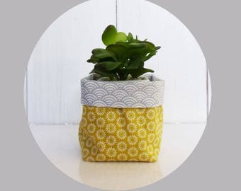 Pot - 11 x 9 cm - fabric wave gray and yellow Suns fabric pouch