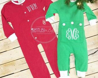 Monogram Christmas Pajamas - Family Christmas Pajamas - Christmas Jammies - Butt Flap Christmas Pajama