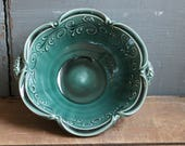 Small Serving Bowl, Handmade, Teal Green, Display, Accent Piece, IN STOCK, ready to ship