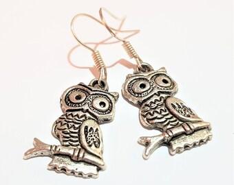 Owl charm earrings metal casual boho chic adorable jewelry