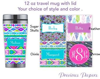 Personalized travel mug with lid - sugar skull mug, arrow print mug, feather print mug, sugar skull coffee mug, southwestern mug