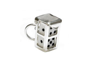 Sterling Silver Opening White Dice In Case Charm For Bracelets