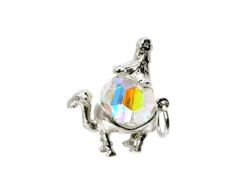 Sterling Silver & Swarovski Crystal Set Wiseman On Camel Charm For Bracelets