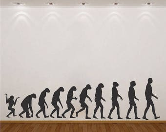 Evolution Wall Decal Monkey To Man Wallpaper Mural Removable Science Bedroom  Dawn Of Man Wall Design