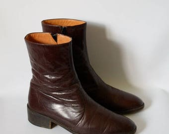 Sale Mens Vintage Ankle Boots 1970s Leather Beatle Boots Vtg 70s Leather Boots Guys Mod Boots Italian Leather Boots 7