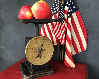Antique Kitchen Scale | Brass Face Scale | Black Scale | Americana | Young America | Farmhouse Kitchen | Farmhouse Style | Patriotic