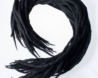 Wool Dreadlocks Black natural custom wool dreads-  Double Ended Roving art hair extensions Kit