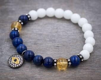 Good luck Protection Evil eye bracelet Boho beaded bracelet Meditation beads Healing energy bracelet Women bracelet Cubic Zirconia bracelet