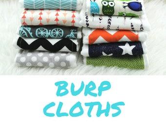 PICK ANY 10 Baby Burp Cloths     burp rag, baby burp cloths, burping rag, baby shower gift, baby gift, new baby gift