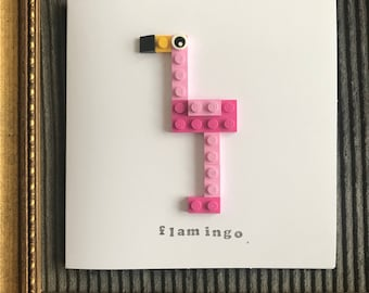 Flamingo Mothers Day Card made from Lego, Girls, Pink Birthday, Anniversary funny