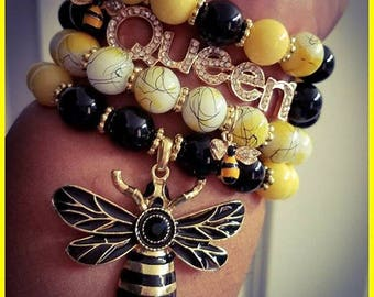 Queen Bee Yellow and Black Stack Bracelet