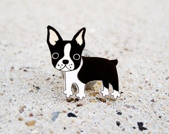 Boston Terrier Pin, Boston Terrier Jewelry, Boston Terrier Brooch, Dog Pin, Dog Jewelry, Dog Brooch, Shrink Plastic