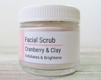Cranberry & Clay Facial Scrub, Exfoliation, Face Cleanser