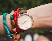 Personalized Watch Wood, Womans Watch, Cherry Wood Rose Gold Watch, Brown Leather Strap - HELM-CR