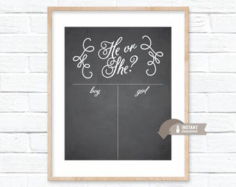 Chalkboard Calligraphy Inspired Gender Reveal Guess Sign - Baby Shower - Boy or Girl - 8x10, 16x20, 18x24 Sizes