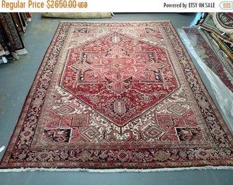 SUMMER CLEARANCE 1980s Hand-Knotted Vintage Heriz Gorovan Persian Rug (3616)