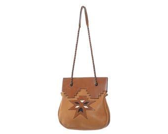 Vintage 70s 80s Southwestern Leather Shoulder Bag 1970s 1980s Aztec Santa Fe Design Hippie Artisan Boho Woodstock Purse Western Handbag