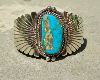 Vintage Turquoise and Silver Cuff, Signed Navajo Turquoise Bracelet, Native American Turquoise and Sterling Jewelry, Large Stone Turquoise
