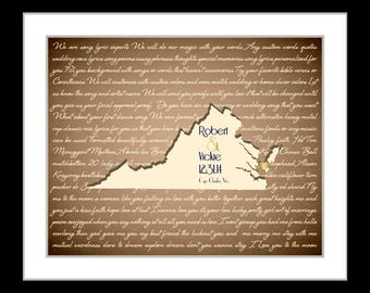 Personalized anniversary present, gift for wife, custom wedding gift finace gift anniversary gift for her virginia map art song lyrics print