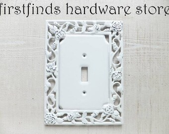 Light Switch Cover Plate Shabby Chic White & Black Electrical Painted Single Cottage Decor Rose Garden Design Lite Toggle ITEM DETAILS BELOW
