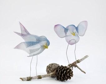 Set of 2 Bird sculptures, Abstract bird, Metal bird sculpture, Contemporary metal art, Decorative modern art, Luck bird