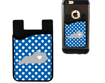 Kentucky Love KY State Design Cell Phone Card Holder Caddy Phone Wallet - For ID and Credit Card