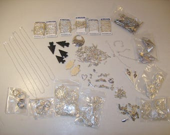 Large Lot of Jewelry Making Supplies, Pendants, Chains, Clasps, Charms, Hair Pins, Ring Bases, New Items