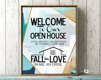 Realtor Open House Print, Realtor Open House Sign Print, House For Sale Print, Real Estate Welcome Sign, Abstract Art Print, Open House