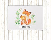 Fox and Baby Cards | Thank You Cards | Printable PDF Instant Download | BSI108TY