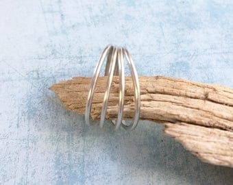 Sterling silver 4 Rings ring - Circles ring - four rings welding - delicate rings ring - statement ring