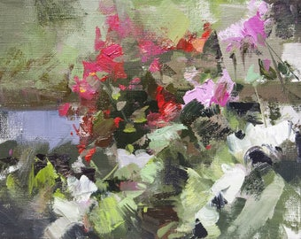 Green Pink Art, Small Painting, Floral Oil Painting, Still Life with Flowers, Abstract Modern Painting