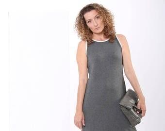 Grey Summer DRESS, Sleeveless Short Dress, A Cut Dress, Short Summer Dress, Loose Fit, Tank Dress, Casual