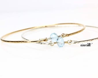 Floating Blue Topaz Bangle / Sterling Silver or 14k Gold Fill Bracelet / December Birthstone Gift / Mothers Jewelry Push Gift / Scorpio