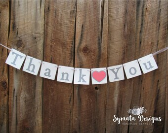 Thank you heart banner - Thank you banner - photo prop - wedding decoration- grey gray coral heart- lower case letters - romantic - IATY133