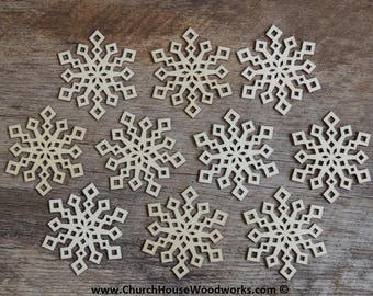 3 inch Snowflake Wood Christmas Ornaments- 10 pack Style 2 -  DIY Wooden Christmas Crafts Ornament Making Supplies
