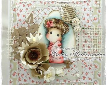 OOAK Handmade Magnolia Tilda Card, By Becky