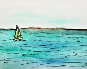 Sailing on Turquoise ACEO Seascape Painting Mini Watercolor Painting Pen Ink Drawing Art by Kathleen Daughan Massachusetts Western Avenue