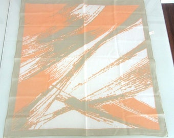 Cotton Scarf Made In Italy Peach & Light Sage Green Abstract Design 30 x 30 Inches Square