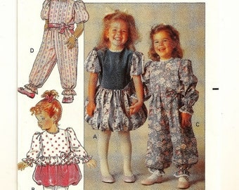 "A Short or Long Sleeve Bubble Hem Dress or Jumpsuit Party Pants Sewing Pattern: Uncut - Toddler Sizes 1-2-3, Breast 20""-22"" • Butterick 5132"