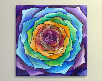 original acrylic painting, abstract painting, colorful flower, rainbow rose, flower painting, 12x12 painting, small painting, wall art