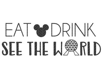 Eat Drink See the World, food and wine,  SVG file