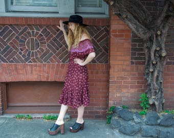 Vintage Off-The-Shoulder Dress