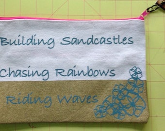 Building Sandcastles zipper canvas clutch makeup bag pouch