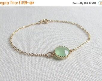 Mint Green Gold Bracelet, Dainty Modern Everyday Jewelry, Petite