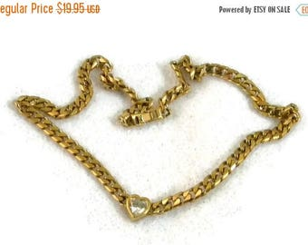 Summer Sale Herringbone Chain, Gold Tone with Clear Rhinestone Heart Charm in Center, Vintage Item, Valentine Gift, Love