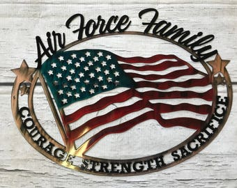 Air Force Family Custom Metal Military Wall Art, Personalized Wall Decor,